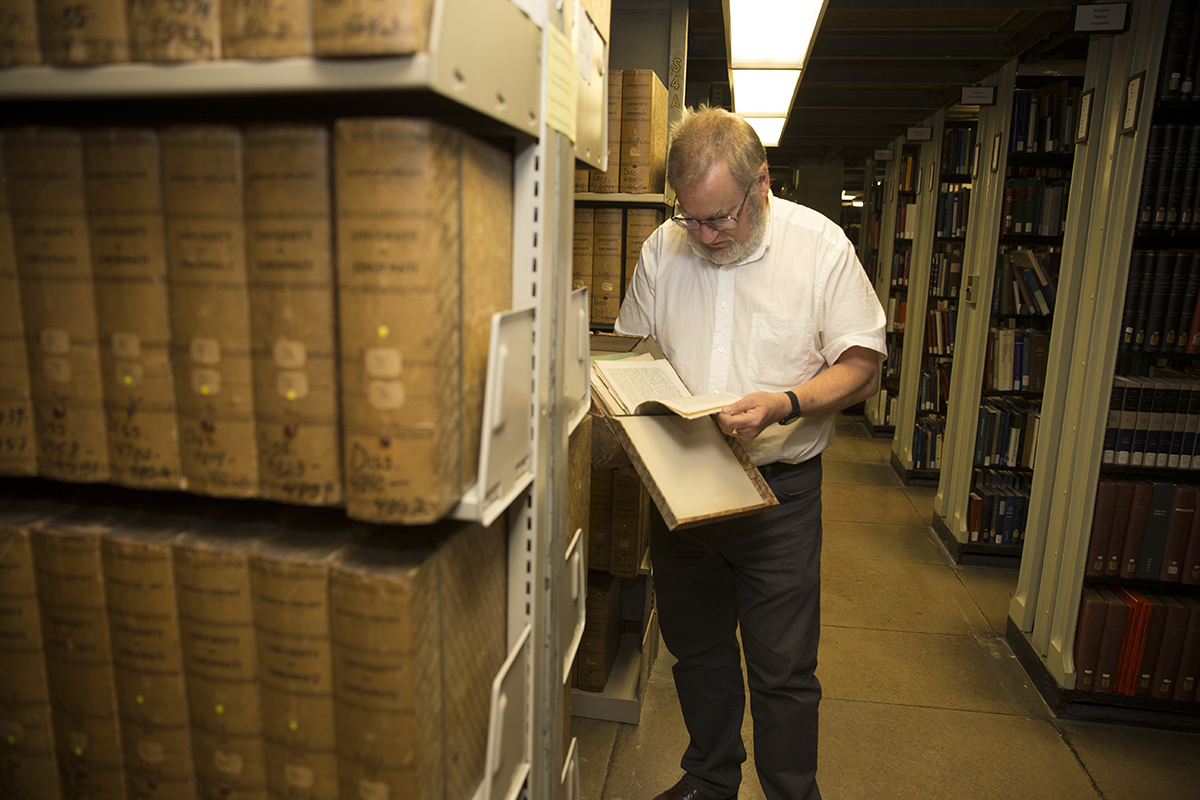 mike in the classics stacks