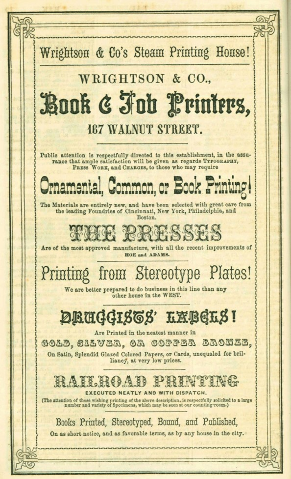 flyer for Wrightson & co Steam Printing House