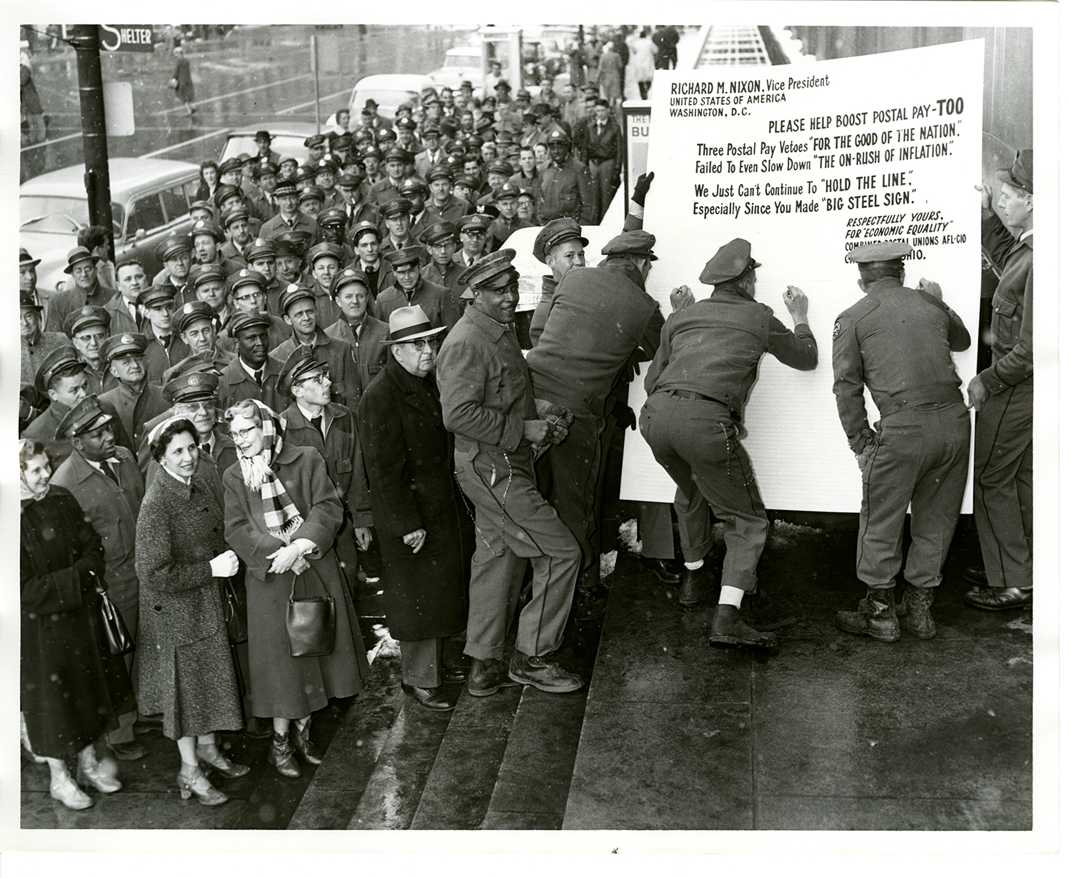 postal workers sign letter to President Richard M. Nixon