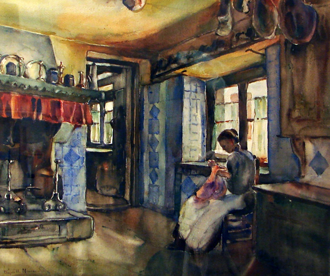 Basque Interior, Pyrene...  Nourse, Elizabeth, 1859...  created ca. 1906  watercolors (paintings)