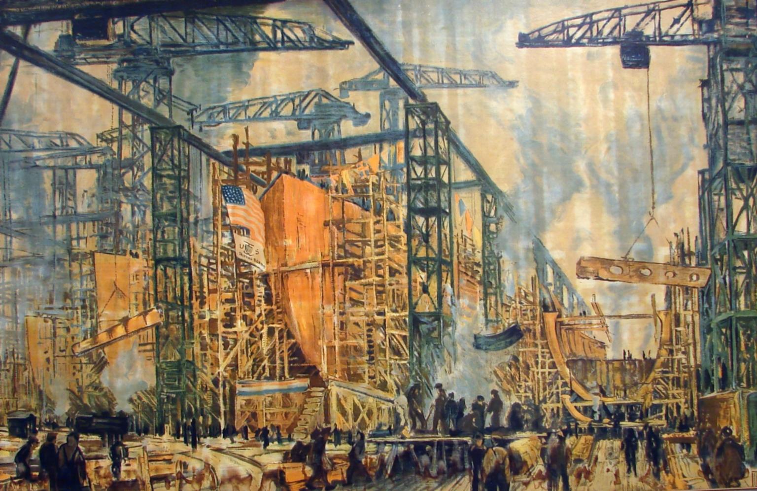 Ship Building  Lie, Jonas, 1880-1940  created 1908  paintings (visual works...