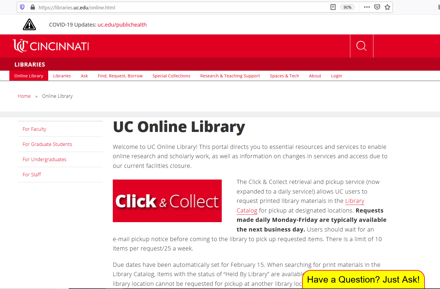 screen shot of the Online Library web page